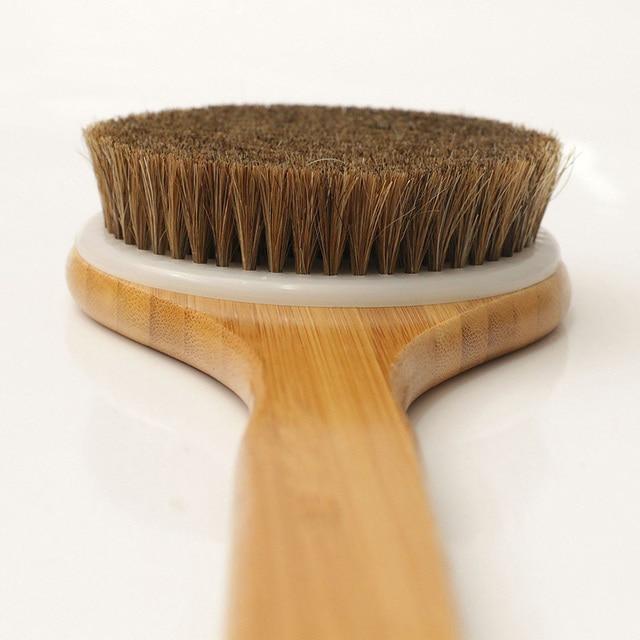 2019 Hot Shower Brush With Long Bamboo Wood Handle Back Scrubber Spa Exfoliator Bath Body Massage Brushes wyt77 2