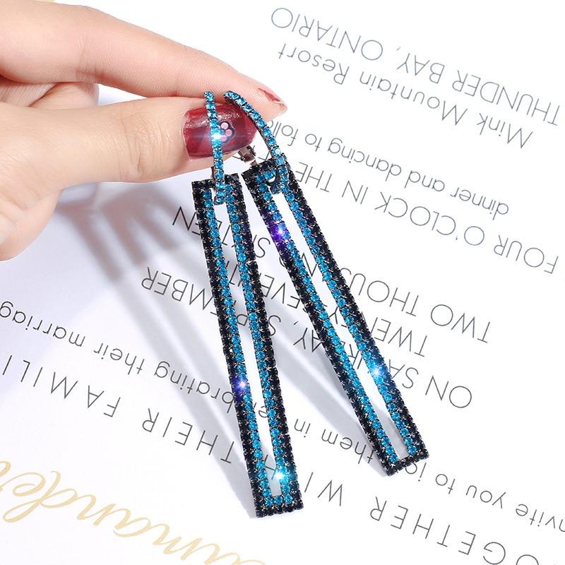 Fashion Elegant Cubic Zirconia Rectangle Drop Earrings For Women Trend Long Rhinestone Earrings Female Wedding Birthday Jewelry
