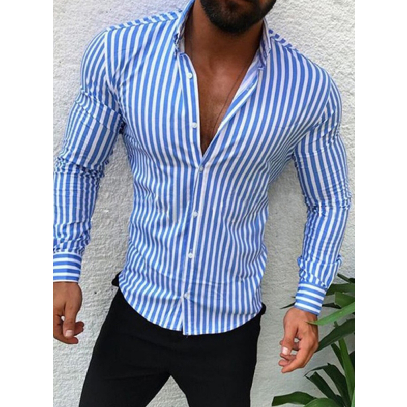 Men's Casual Shirt Slim Fit Men's Casual Striped Shirt Long Sleeve Formal Dress Shirts Men Male Clothing Camisa 1