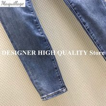 High-end Fashion All-matched Skinny Pencil Jeans With Embroidery Flower Pockets Washed Hole High Waist Casual Blue Denim Pants