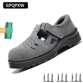 Boots Man Light Shoes Summer Breathable Non-slip Wear-resistant Safety Sandals Anti-smashing Anti-puncture Work Shoes