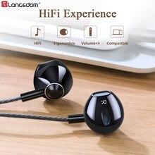 Langsdom F9 โลหะหูฟังพร้อมไมโครโฟน 3.5 มม.หูฟังหูฟังหูฟังสำหรับโทรศัพท์Fone De Ouvido
