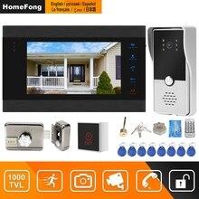 HomeFong แบบมีสาย Intercom ล็อคประตูบ้านอินเตอร์คอมระบบ Motion Detect Recording 1000TVL กล้อง