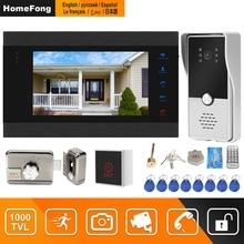 HomeFong Kablolu Görüntülü Interkom Kilit Ev Kapı Kilidi interkom sistemi Destek Hareket Algılama Kayıt 1000TVL Kapı Zili Kamera