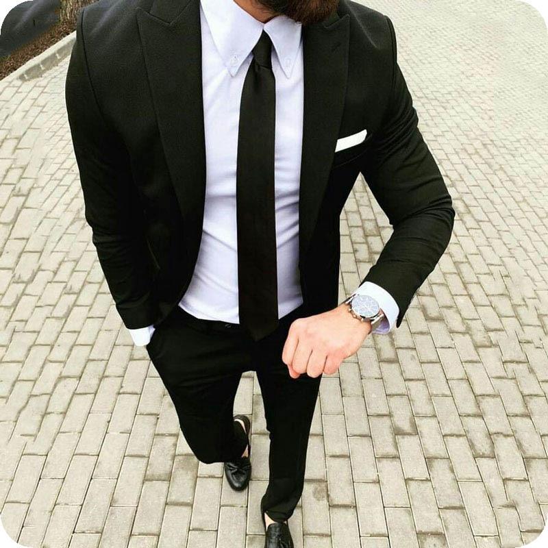 Black Men Suit Men Wedding Suits For Men Business Costume Custom Made Tuxedos Casual Groom Best Man Groom Terno Blazer Masculino