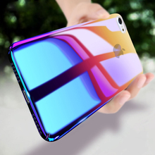 Blue-ray Gradient Clear Phone Case For iPhone 7 6 6s Plus 8 7s SE Transparent Hard PC Back Case Cover For iPhone X 8 Plus opera style protective pc back case for iphone 6 plus white blue multi color