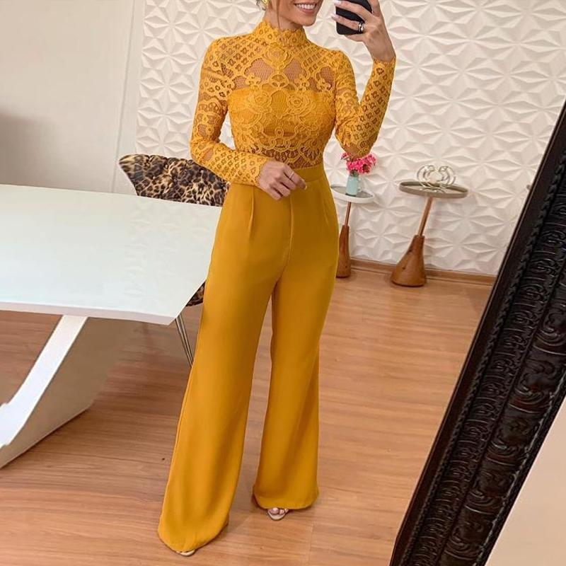 Aartiee Lace Yellow Female Jumpsuits Turtleneck Overalls Long Wide Leg Bodysuits One-piece 2019 Summer Autumn Long Sleeve Romper