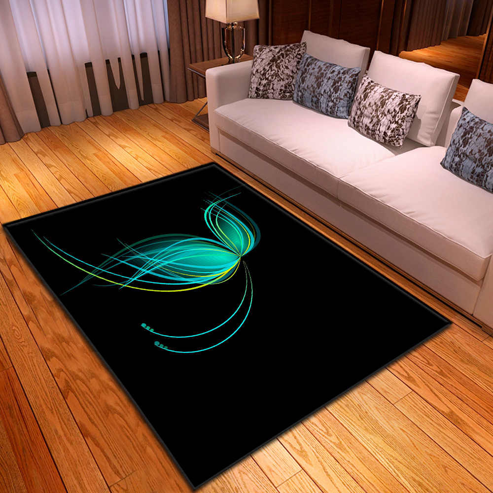 Butterfly carpets home bedroom decorative floor mats modern living room non-slip thick mat child crawling 3D printing large rugs