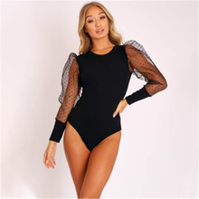 2020 Long Sleeve Polka Dot Bubble Sleeve Mesh Patchwork Sexy Leotard Spring and Autumn Women Street Wear Costume