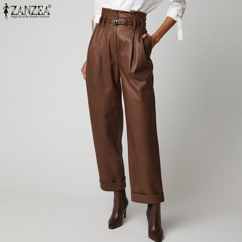 Stylish ZANZEA Women PU Leather Trousers High Waist Wide Leg Pants Elegant Office Work Long Pantalons Female Loose Streetwear