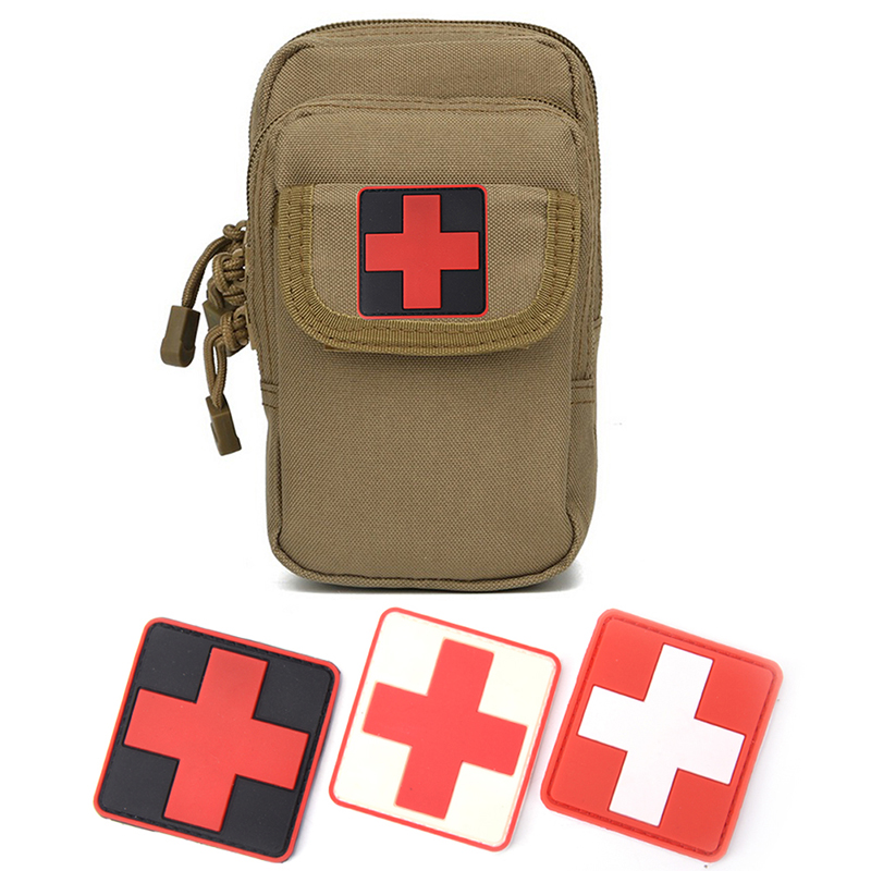 Red Cross Medical Rescue Morale Military Medical Staff Badge PVC Velcro Armband