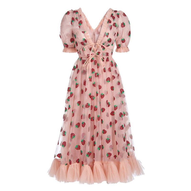 Stock 2021 Strawberry Dress Women Fashion Deep V Pleated Puff Sleeve Sweet Voile Mesh Sequins Embroidery French Party Dresses 11