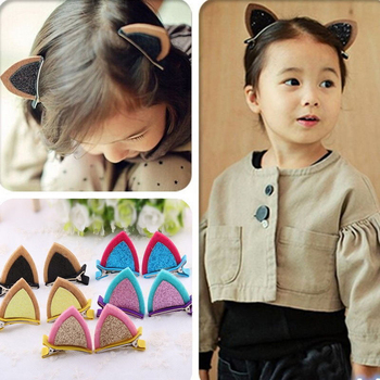 Cute Children Kids Baby Grils Cat Ear Barrettes Hair Clip Barrette Hairpin image