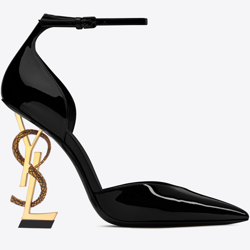 US4-11 Sexy Womens Clubwear Pointed Toe Patent Leather High Irregular Strange Heels Sandals Shoes Ankle Buckle Snake Plus Size Y