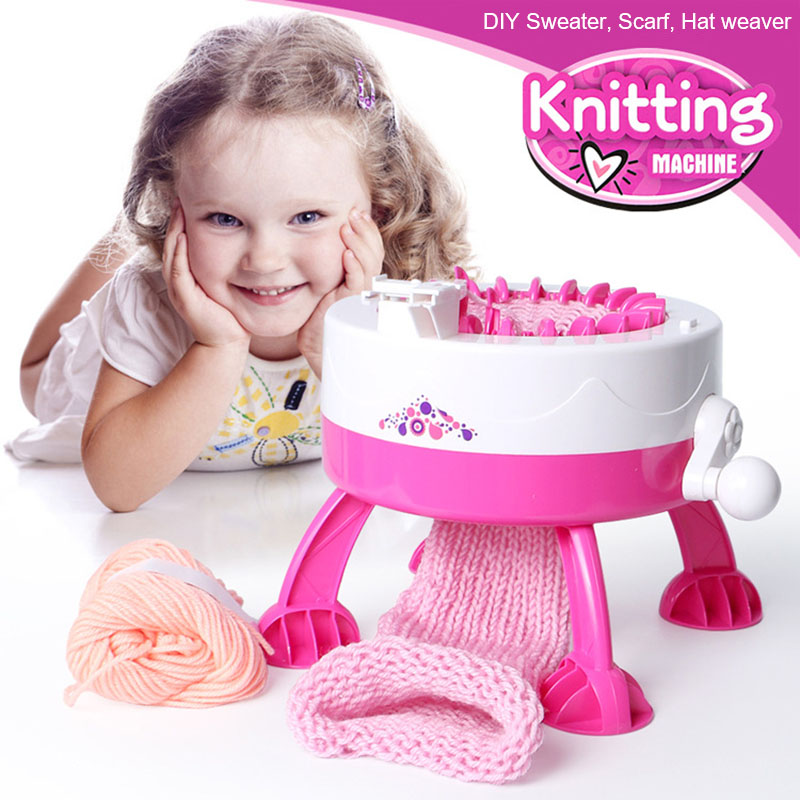 Children'S Hand-Cranked Automatic DIY Scarf Cap Rainbow Knitting Machine Creative Hand-Knitted Wool Girl Play House Toy