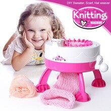 Crianças mão dobrado automático diy cachecol boné arco íris tricô máquina criativa mão malha lã menina jogar casa brinquedo