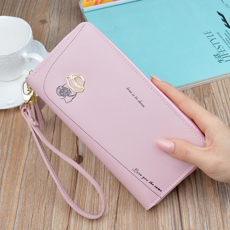 Leather Women's Wallet Long Zipper Purses Fashion Phone Bags Large Capacity Card Holder Female Leather Women Wallet Handbag 2019