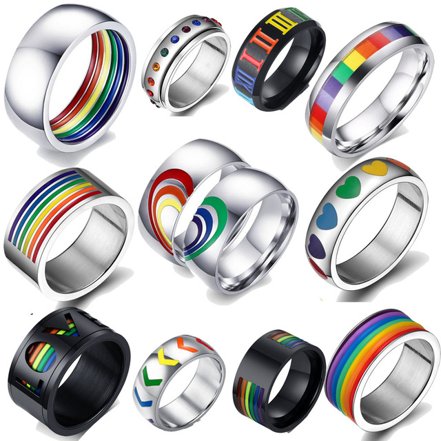 Mens Womens Rainbow Colorful LGBT Ring Stainless Steel Wedding Band Lebian & Gay Rings Drop Shipping