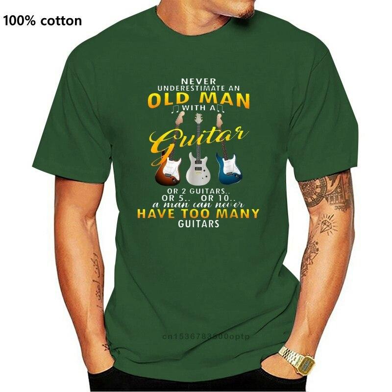 Черный никогда не недооценивать пожилой человек с гитарой Футболка мужская тренд 2020 Классический уникальные футболки