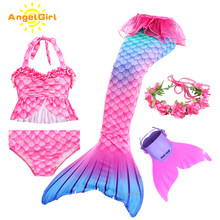 AngelGirl Mermaid kuyruk prenses Swimable çocuk Mermaid elbise Flipper Cosplay fantezi tatil plaj Bikini yaz elbisesi