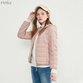ARTKA 2019 Winter New Womens Down Jacket 90% White Duck Ultralight Warm Short Hooded Women DK10491D