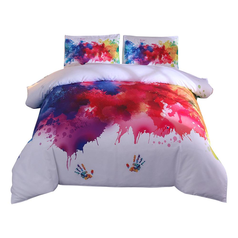 3D Printed Color Handprint Bed Three piece Youthful And Lively king size comforter bedding sets sheets