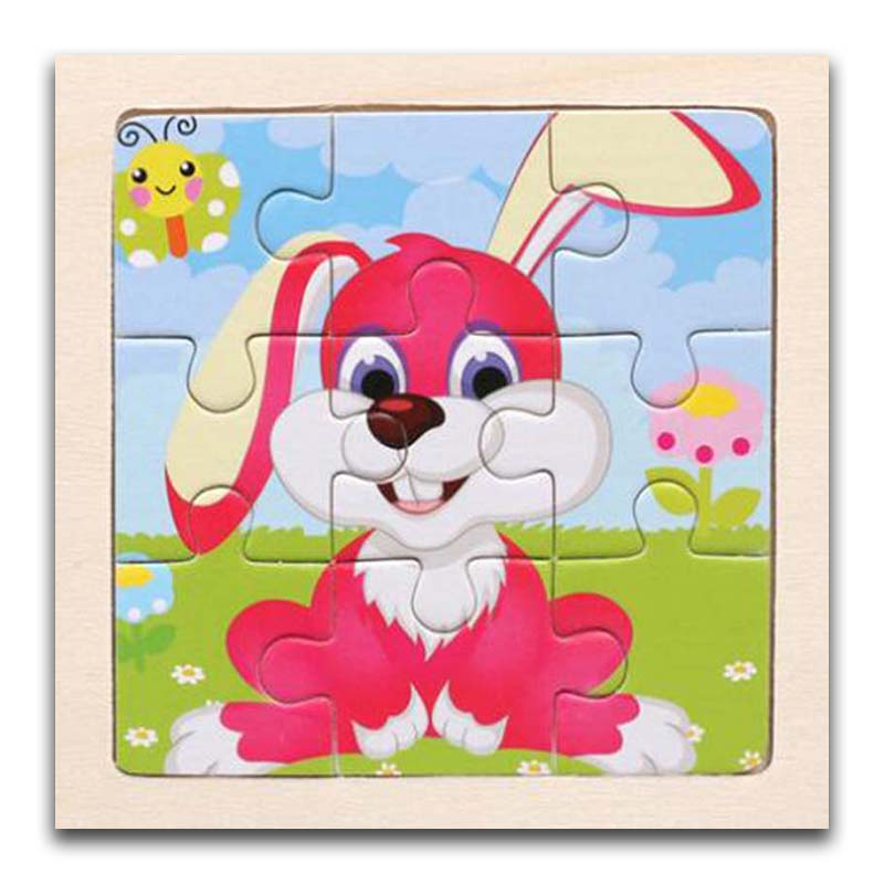 3D Paper Kids Children's Baby Early Childhood Educational Toys Cartoon Rabbit Wooden Small 9-Piece Jigsaw Puzzle 1-3-Year-Old