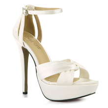 Summer New 14cm Women High Heeled Sandals Wedding Bridals Stiletto Ankle Strap Open Toe Platform Sexy Party Lady Shoes 4SL-b1