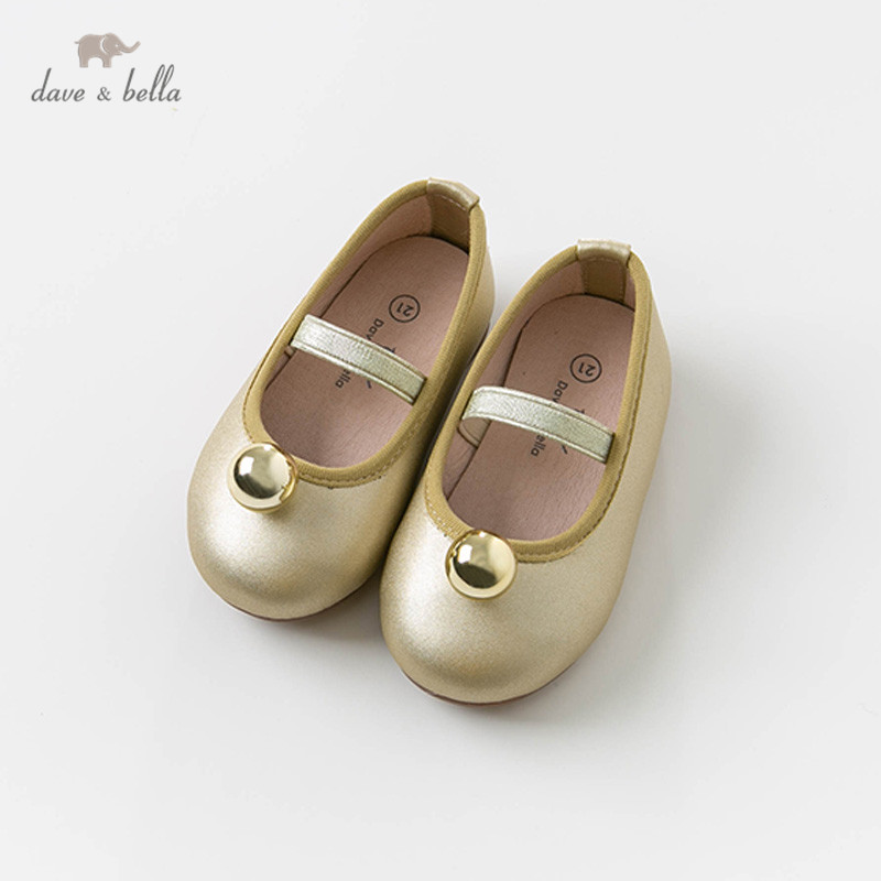 DB13473 Dave Bella Spring Autumn Baby Girl Lgolden Ball Shoes Children Brand Shoes