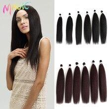 Magic – Extensions de cheveux synthétiques Yaki noir, Extensions de cheveux, lisses, pour femmes, 22 24 26 pouces, 6 pièces