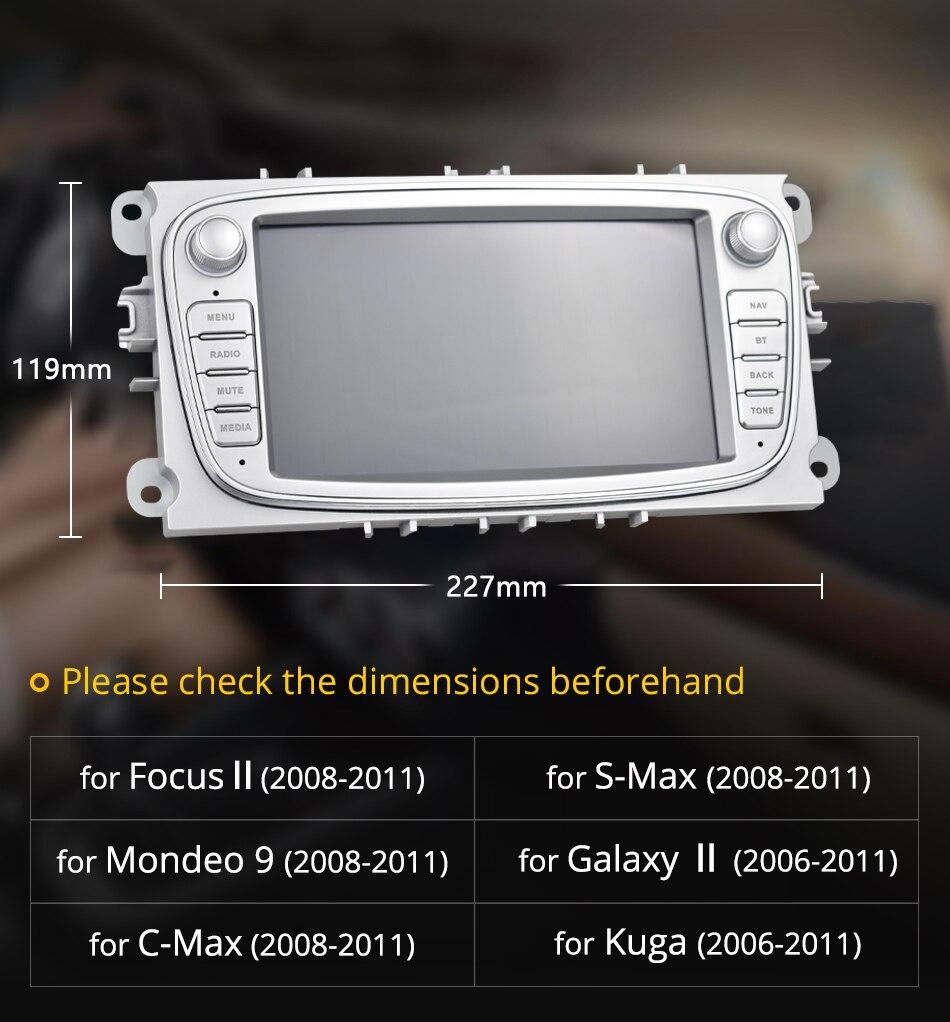Podofo Android 8,1 gps автомагнитолы 2 Din Автомобильный мультимедийный плеер 7 ''аудио dvd плеер для Ford/Focus/S Max/Mondeo 9/Galaxy yc Max - 3