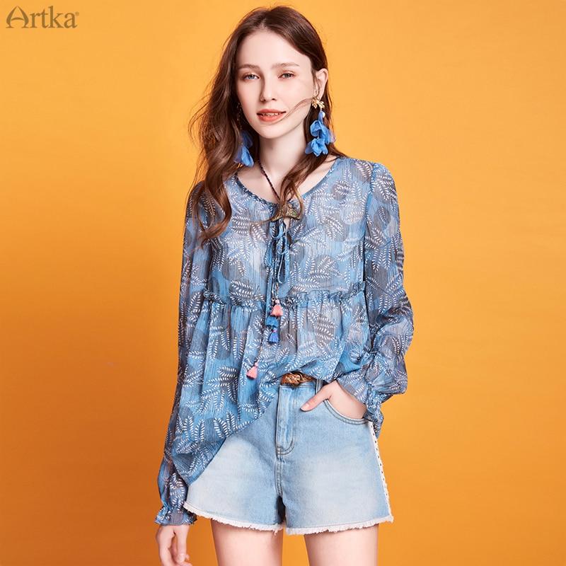 ARTKA 2020 Spring Summer New Women's Blouse Vintage Print Beach Style Blouse Lantern Sleeve V-Neck Tassel Chiffon Shirt SA20301C