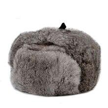 Мужская зимняя шапка с кроличьим мехом, шапка-бомбер из натурального меха, ветрозащитные теплые наушники для мужчин, плоская серая/черная Русская Шапка