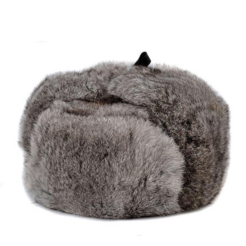 Czapka z futra królika mężczyzna zima oryginalne 100% futro bombowiec kapelusz wiatroszczelna ciepłe nauszniki męskie płaskie szary/czarny rosyjski kapelusz wyposażone Casquette