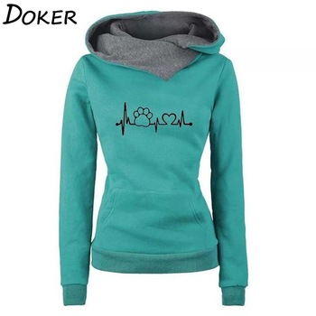 Autumn Winter Hoodies Women Pattern Embroidery Long Sleeve Plus Size Fashion Pullovers Sweatshirt Tops Vintage Warm Hooded