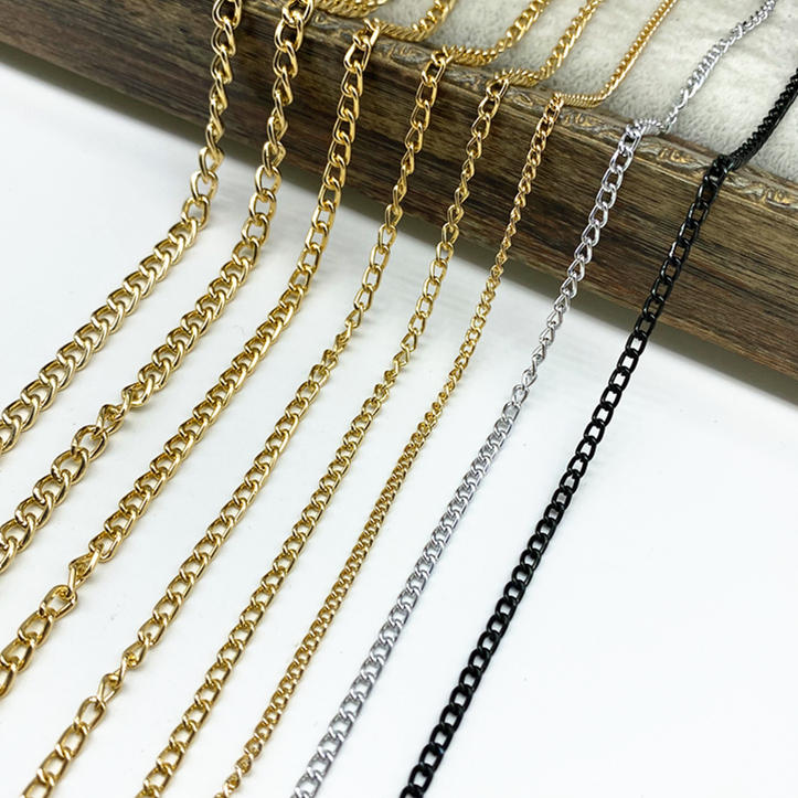 Metal-Chain Jewelry Diy-Supplies Black Making-Findings Golden-Silvery 2-Meters Aluminum