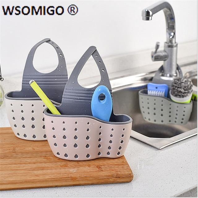 1pcs Kitchen Tools Organizer Adjustable Snap Sink Soap Sponge Kitchen Accessories Kitchen Hanging Drain Basket Kitchen Gadgets-S 4