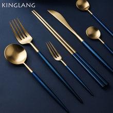 1 шт голубой золотой столовая ложка вилка высокое качество 304