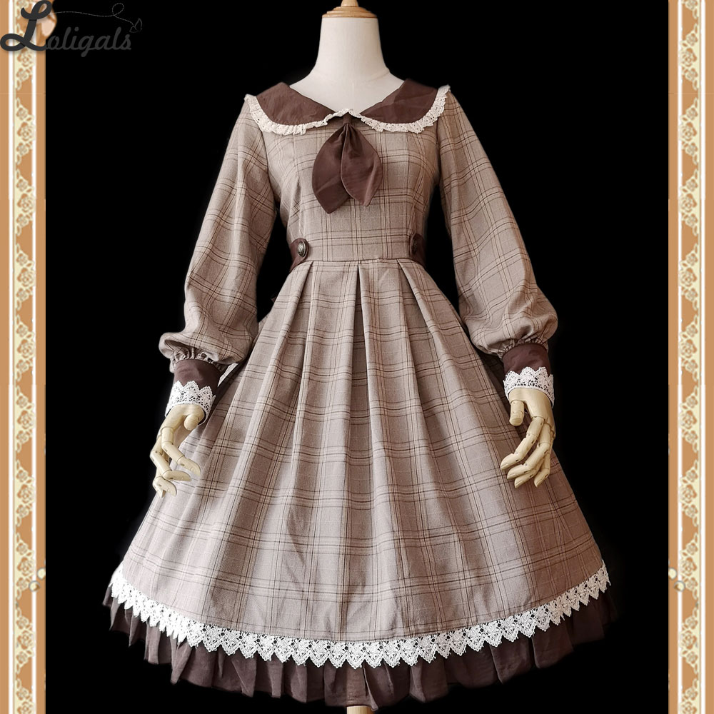 librarian ~ Classic Long Sleeve Lolita Dress Plaid Party Dress by Infanta