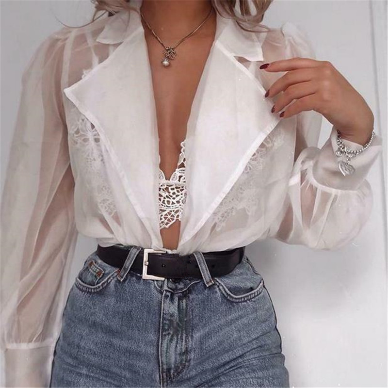 2020 Fashion Women Blouse See-through Shirt Elegant Top Mesh Patchwork Puff Sleeve Shirt Turn-down Collar Blouses Tops Blouse