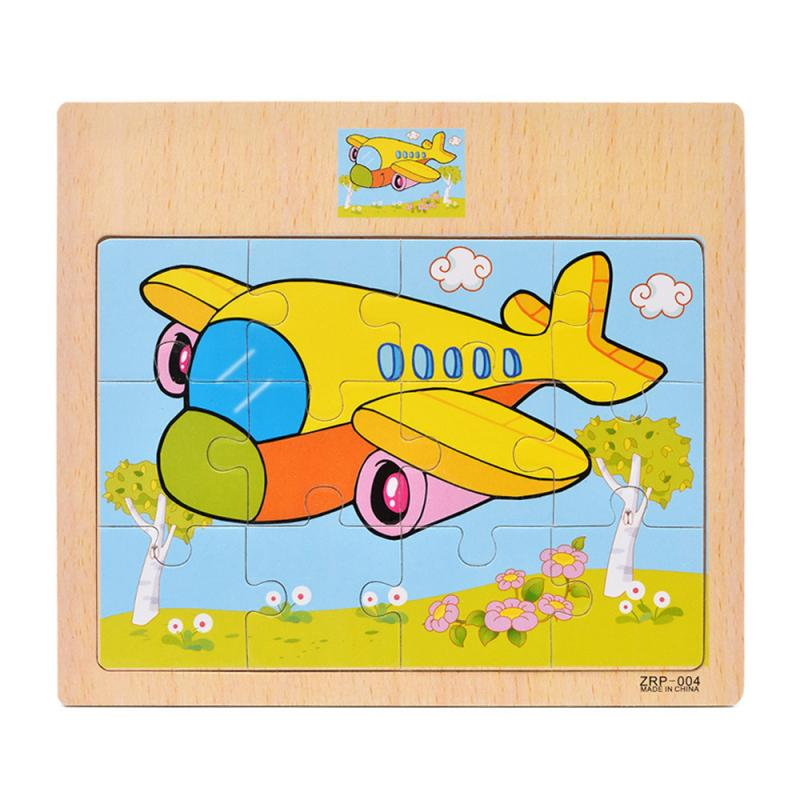 Hot Sale 12-piece Slice Kids Puzzle Toy Animals And Vehicle Wooden Puzzles Jigsaw Baby Educational Learning Toys Children Gift