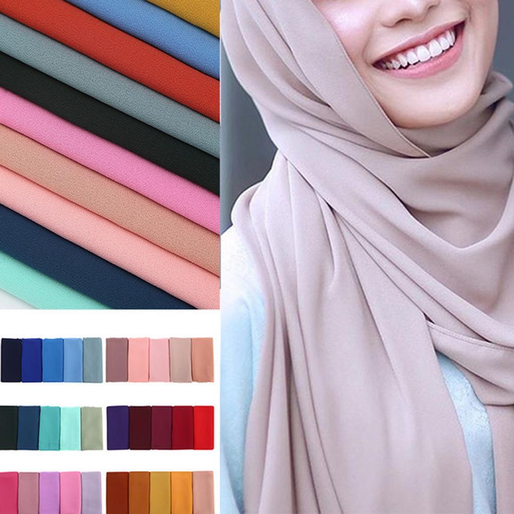 Fashion Women Muslim Hijab Solid Color Islamic Scarf Shawl Head Wrap Headwear Women Solid Plain Bubble Chiffon Hijab Scarf