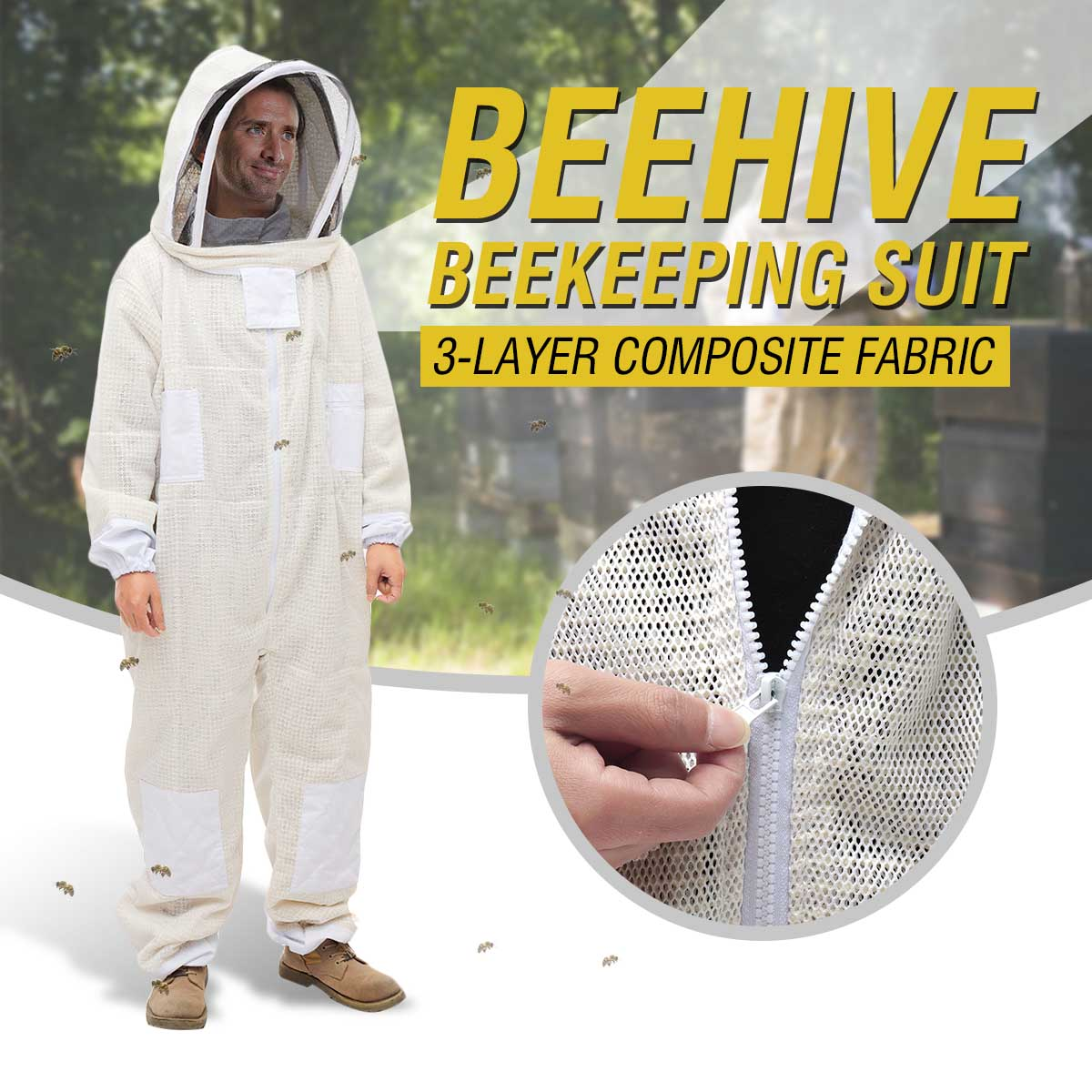 3 Layer Full Body Beekeeping Clothing Veil Hood Hat Clothes Jaket Protective Beekeeping Suit Beekeepers Bee Suit Equipment