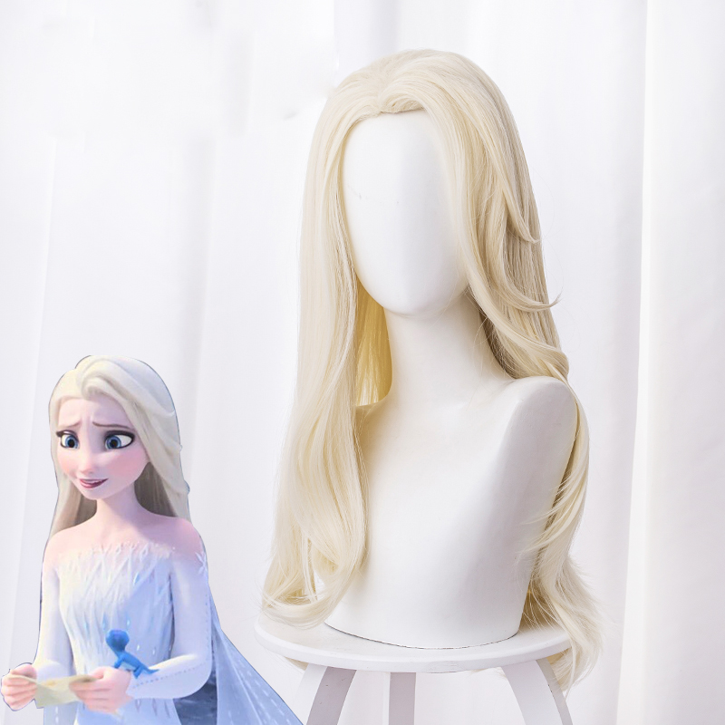 Princess Elsa Cosplay Wig 65cm Blonde Light Golden Curly Long Synthetic Hair Halloween Party Role Wigs + Free Wig Cap