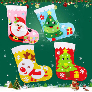 4PCS Christmas Ornaments Socks DIY Art Crafts Toys For Children Baby New Year Decorations for Home Tree Snowman Socks Gifts diy felt christmas tree new year gifts kids toys artificial tree wall hanging ornaments christmas decoration for home