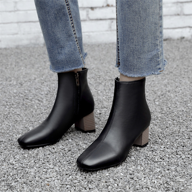 Image 5 - MORAZORA 2020 large size 51 women ankle boots square toe zip autumn winter high heels boots classic vintage dress shoes ladies-in Ankle Boots from Shoes