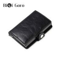BISI GORO RFID Противоугонный держатель для кредитных карт для мужчин и женщин металлическая алюминиевая коробка винтажная искусственная кожа Т...