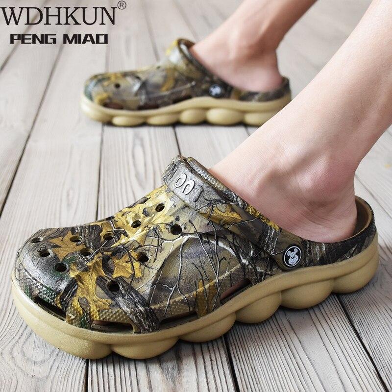 Men Summer Jelly Sandals Lightweight Massage Camouflage Flip Flops Beach Croc Shoes Gladiator Garden Clogs Rubber Bottom