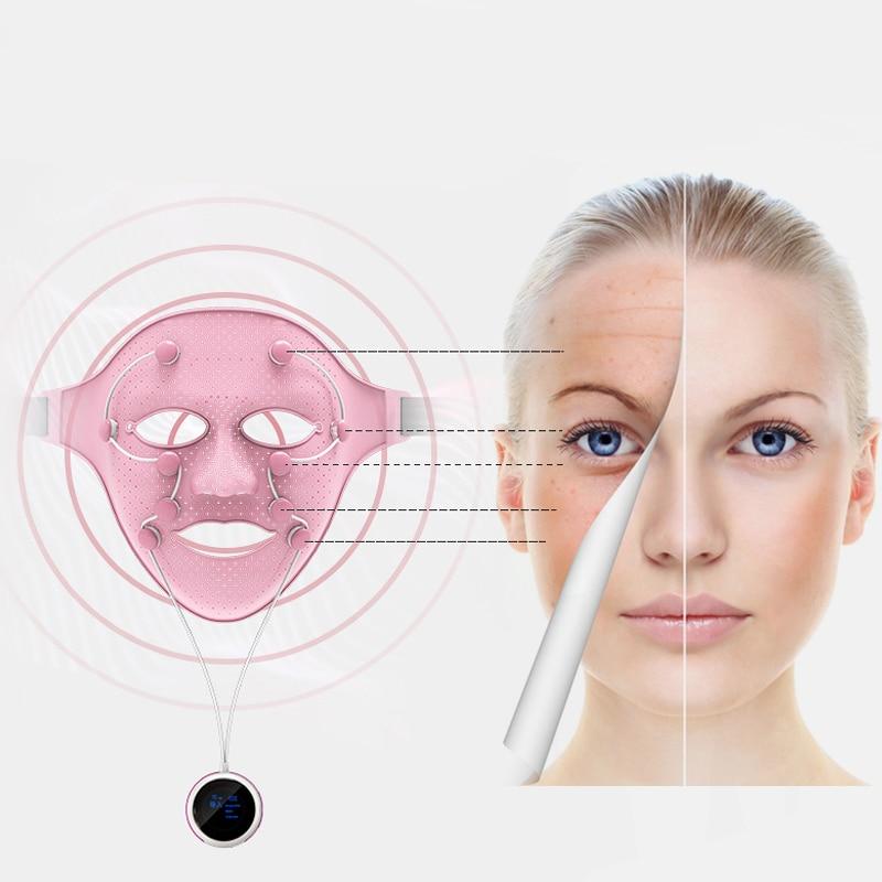 3D Silicone Facial Mask Electric EMS Vibration Face Massager Skin Rejuvenation Face Care Treatment Beauty Anti Age Beauty Spa