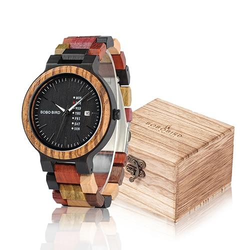 BOBO BIRD Wood Watch Men Women Quartz Week Date Timepiece Colorful Wooden Band logo Customize U-P14-1